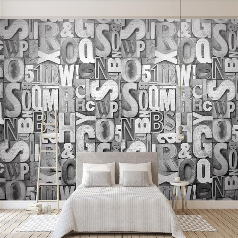 Decorative Wallpaper Relief Style 3D Wallpaper TV Background Wall Stone Carving Stone Letter Composition