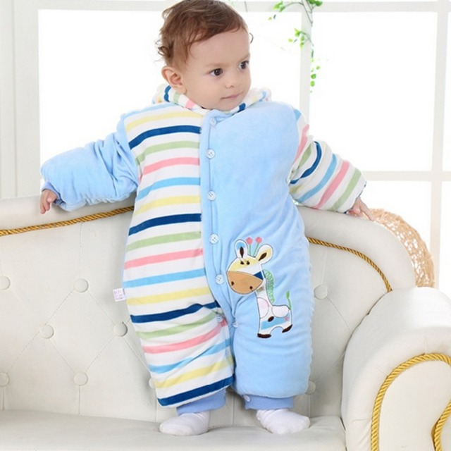 2017 Winter Baby Clothes Flannel Baby Boy Girl Clothes Rompers New born plush jumpsuit snow overalls baby-snowsuit girls clothes
