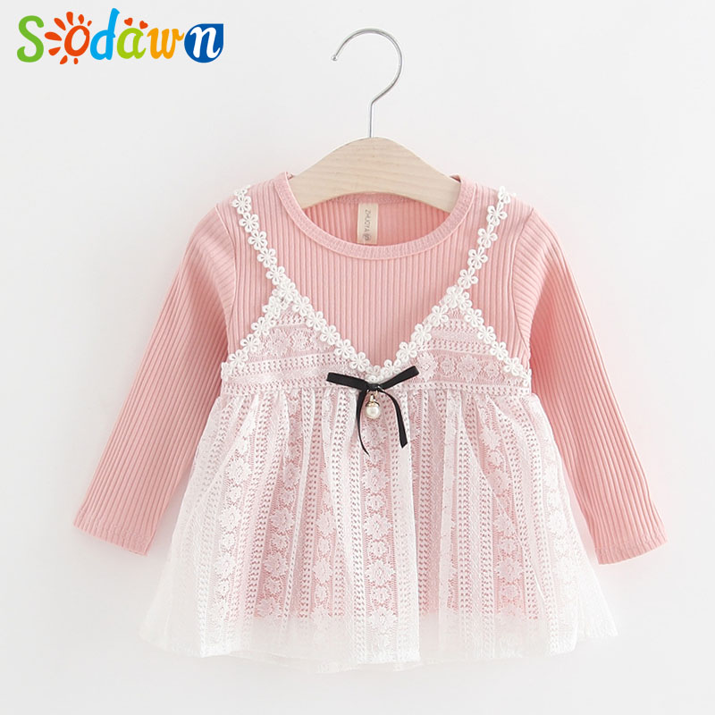 Sodawn Autumn New Girl Baby Dress Lace Sling Dress Long Sleeves Princess Dress Baby Girls Clothes Fashion Children Clothes