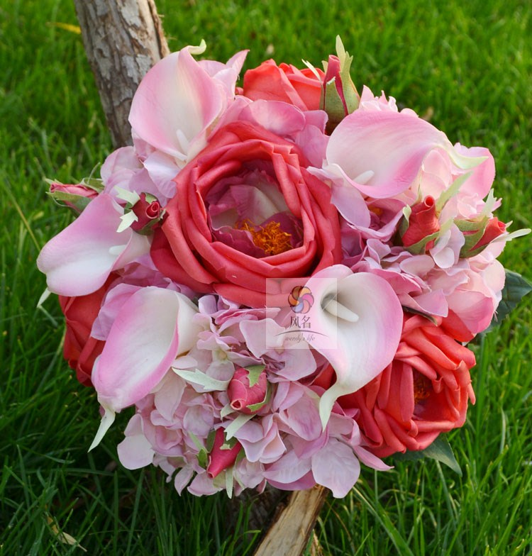 Handmade artificial flower wedding flower bridal bouquet PU rose calla