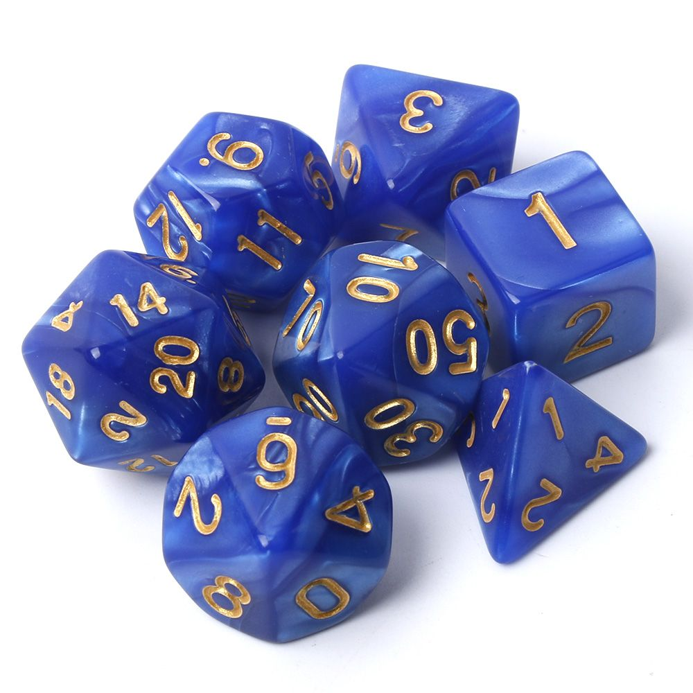 7pcs TRPG Game Dungeons & Dragons Pearl Grain D4-D20 Multi Sided Dices SetPlaying Dice