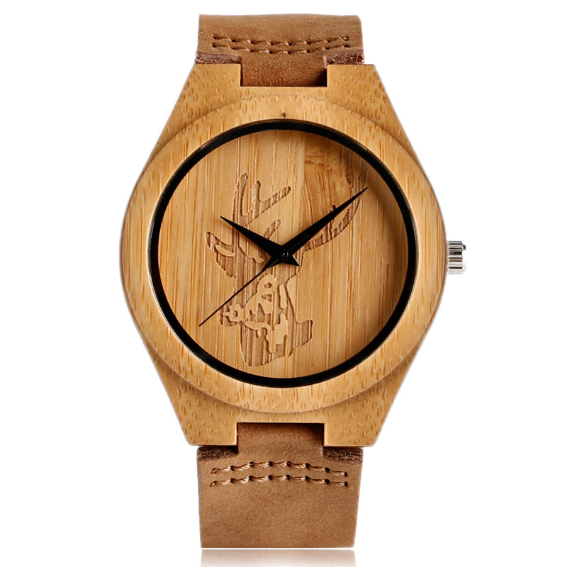 Minimalist Wooden Watch Women Men Bangle Cattle/Deer/Skull/Robot Wood Wristwatch Bamboo Genuine Leather Band Creative Watches simple casual wooden watch natural bamboo handmade wristwatch genuine leather band strap quartz watch men women gift