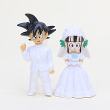 2pcs/lot 11cm Anime Dragon Ball Z Son Goku Chichi Wedding PVC Action Figure model Toys gifts for collection(China)
