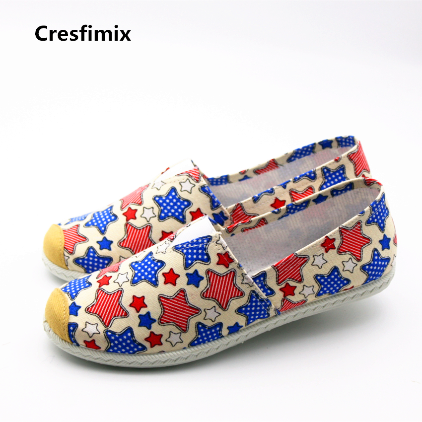 Cresfimix zapatos de mujer women fashion spring & summer flat shoes lady cute striped & star canvas cloth shoes casual shoes cresfimix women fashion