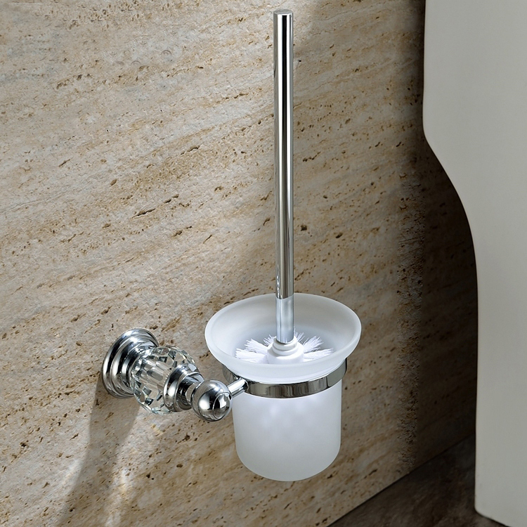 Free Shipping Brass Crystal chrome Toilet Brush Holder chrome Bathroom accessories GY008
