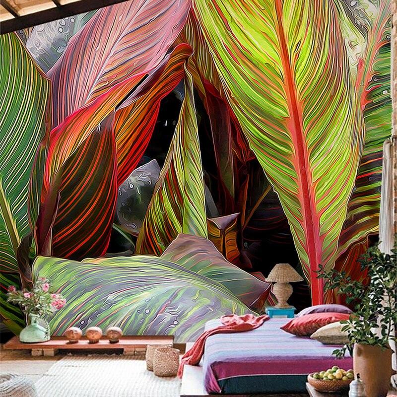 Restaurant Cafe Gallery Art Wallpaper 3D Stereo Rain Forest Plants Color Banana Leaves Mural Photo Wallpaper Murales De Pared 3D