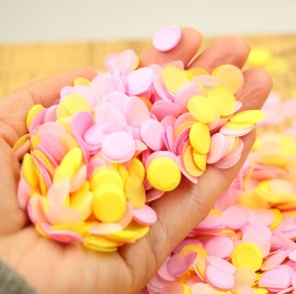 10000 Yellow Pink Confetti, Summer Party, Beach Theme Wedding, DIY ...