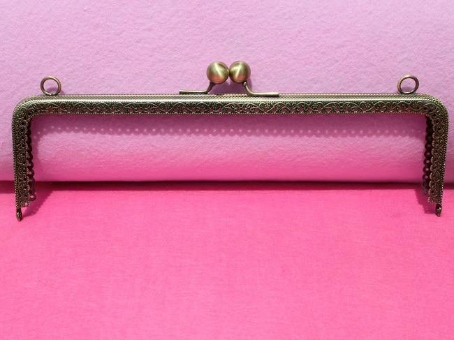 10pcs large size 25cm 9 8 purse Metal frames antique bronnze Square frame with Round kiss