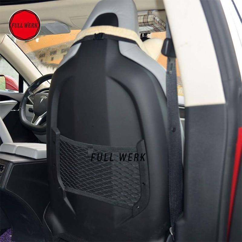 Set of 2pcs Car Seat Back Organizer Holder Pocket Storage Bag Net for Tesla Model S Auto Stowing Tidying Accessories Black