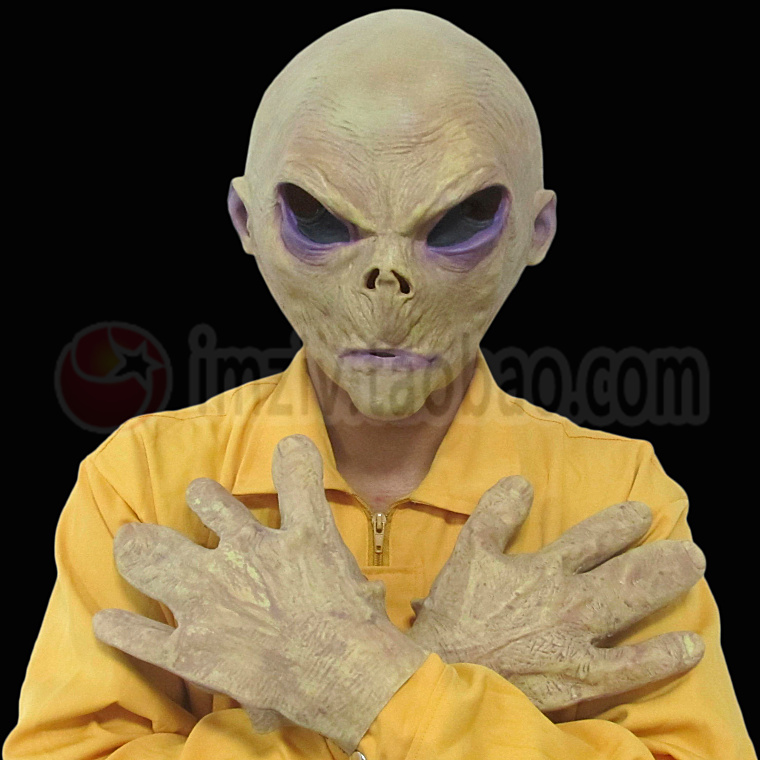 2017 New Scary Silicone Alien UFO Mask Extra Terrestrial Party ET Mask Horror Rubber Latex Masks Gloves Costume Party Cosplay image