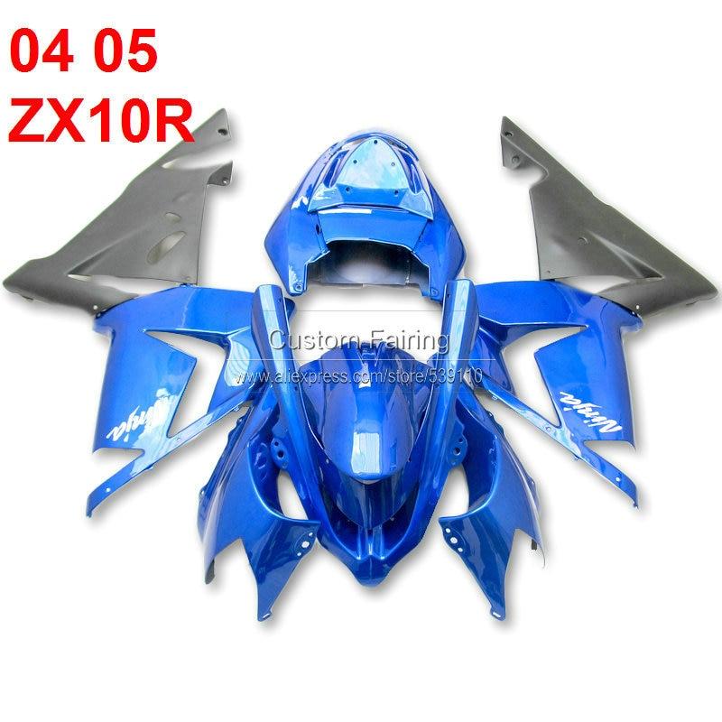 ABS blue fairing kit for Kawasaki ZX10R zx 10r 2004 - 2005 04 05 Ninja matte black fairings xl68 abs plastic fairings for kawasaki ninja zx6r 2005 2006 green black motorcycle fairing kit zx6r 05 06 ty32