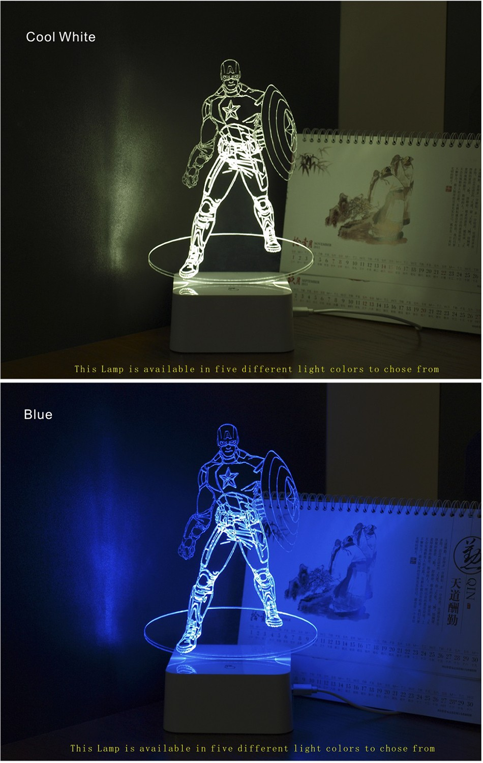 Novelty for American Captain 3D Iluminacion Led Dimmable Touch Table Lamp Desk Nightlights (3)