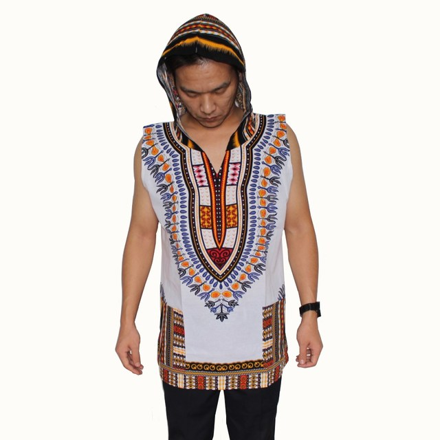 095bb0a0ee488 Sleeveless Dashiki Hoodies Loose African Hooded Dashiki Fabric Hoody 100%  Cotton Fashion Clothes Unisex Kimono with Pocket