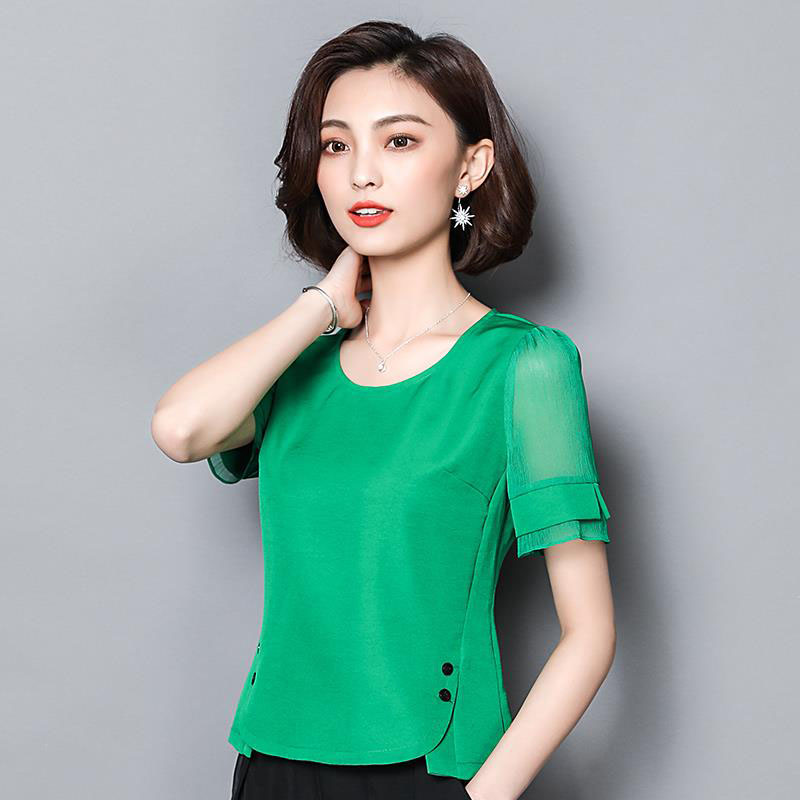 Women Spring Summer Style Chiffon Blouses Shirts Lady Casual Short Sleeve O-Neck Slim Chiffon Blusas Tops DF2781