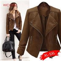Plus Size Coffee Pu Leather Jacket Coat Short Motorcycle Jacket Zipper Pocket 4XL 5XL Classic Basic Winter Jackets Women Outwear