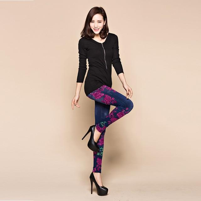 Fashion Slim Women Spring Summer Leggings Faux Denim Jeans Leggings Long Floral Printing Casual Pencil Pants Thin Fleece Inside 3