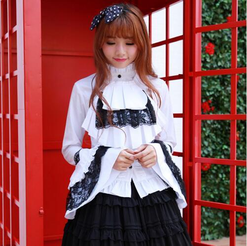Chemise/Blouse blanche et noire à manches longues Style Vintage pour femme avec embellissement de dentelle