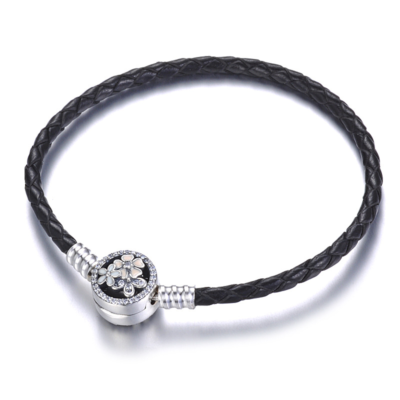 925 Sterling Silver Bead Charm Genuine Leather Lobster Clasp Snake Chain Beads Pandora Bracelet & Bangle Women Diy Jewelry