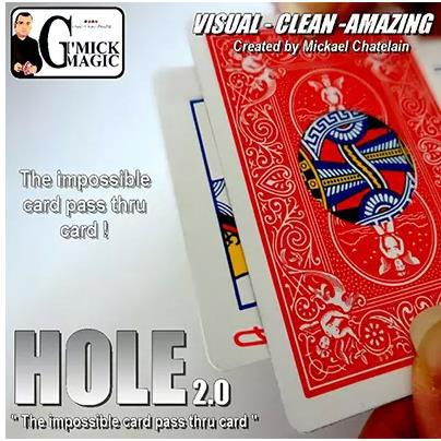 Hole 2.0 By Mickael Chatelain (Gimmicks) Magic Tricks Card Hole Move Close Up Magie Comedy Illusions Mentalism image