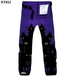 KYKU Бренд Хэллоуин штаны-карго Для мужчин замок Тактический Happy мешковатые Harajuku прямые штаны 3d печати брюки Для мужчин s брюки
