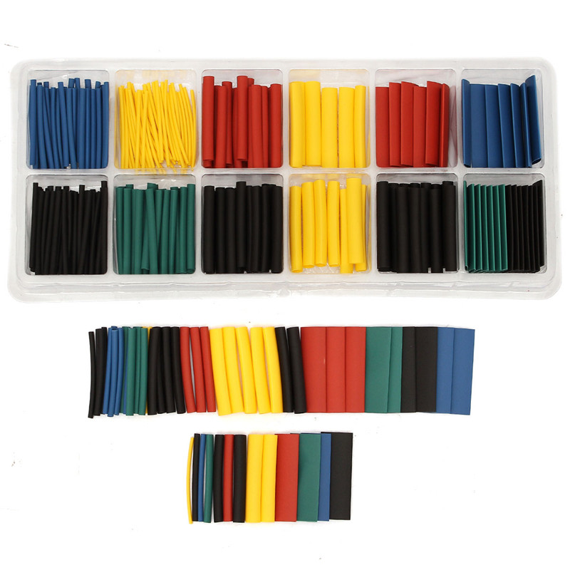 280pcs Polyolefin Assortment Ratio 2:1 Heat Shrink Tubing Tube Sleeving For Wrap Kit With Box 5 Colors Yellow, Blue, Black