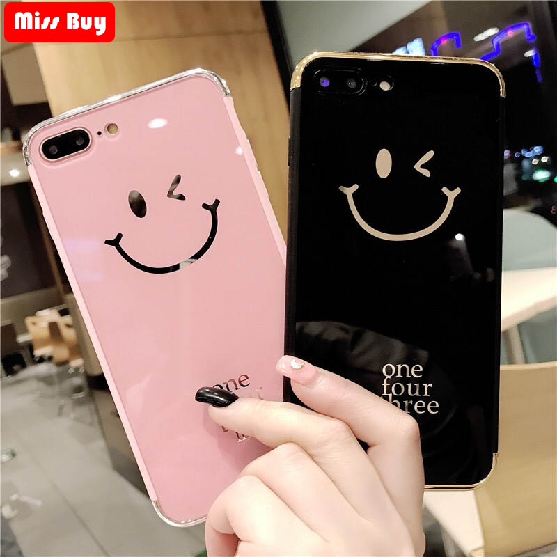 Luxury Mirror Smile Phone Cases For iPhone 7 8 6 6s Plus X Cute Hello Case For IPhone Xs Xr Xs Max Coque Diamond Pink Black Capa iPhone
