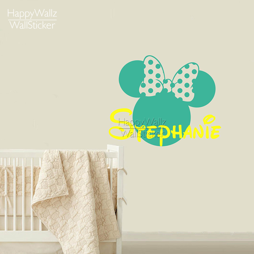Mini Mouse Wall Sticker Custom Name Wall Decals Diy Girls Name Wall Decor  Kids Baby Nursery Removable Wall Decoration 524c2