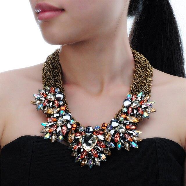 Fashion Handmade Acrylic Resin Bead Chain Pendant Choker Statement Bib Necklace Stone Big Choker Women Party Jewelry Gift