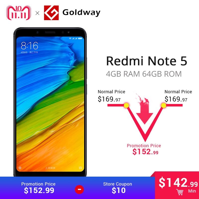 """Xiaomi Redmi Note 5 4 ГБ ОЗУ 64 ГБ ПЗУ мобильный телефон Snapdragon 636 Octa Core 18:9 """"5,99 полный экран MIUI9 двойная камера"""