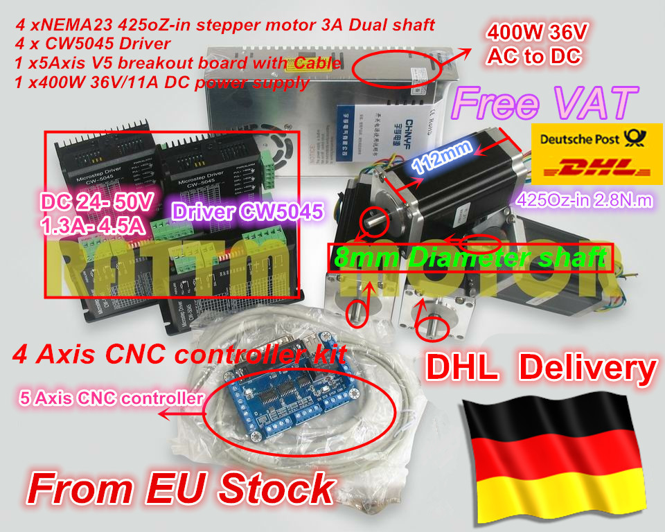 EU ship free VAT CNC Controller 4 axis CNC kit NEMA23 425oz-in 2.8N.m Dual shaft stepper motor & 256 microstep 4.5A driver