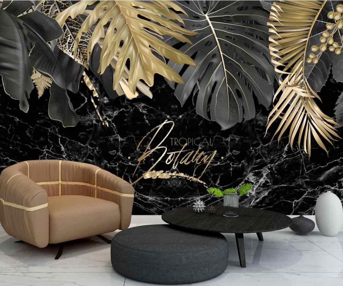 Luxo folha de planta de ouro papel de parede mural com preto backsplash à prova dhd água lona hd pintados à mão papéis de parede rolos personalizado