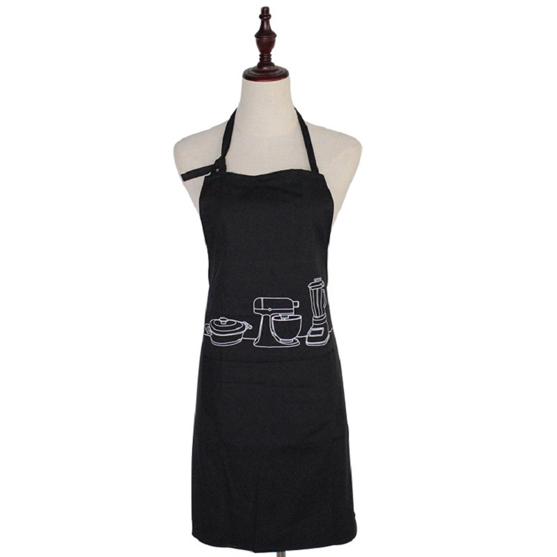 1Pcs Apron Polyester Lovely Printed Kitchen Cooking Home Outdoor Barbecue Accessorie Kitchen Home Black 70cm/27.6x58cm/22.2