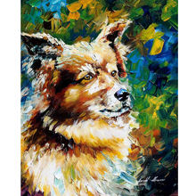 Hand Painted Landscape Abstract Brown-Dog Palette Knife Modern Oil Painting Canvas Wall Art Living Room Artwork Fine Art