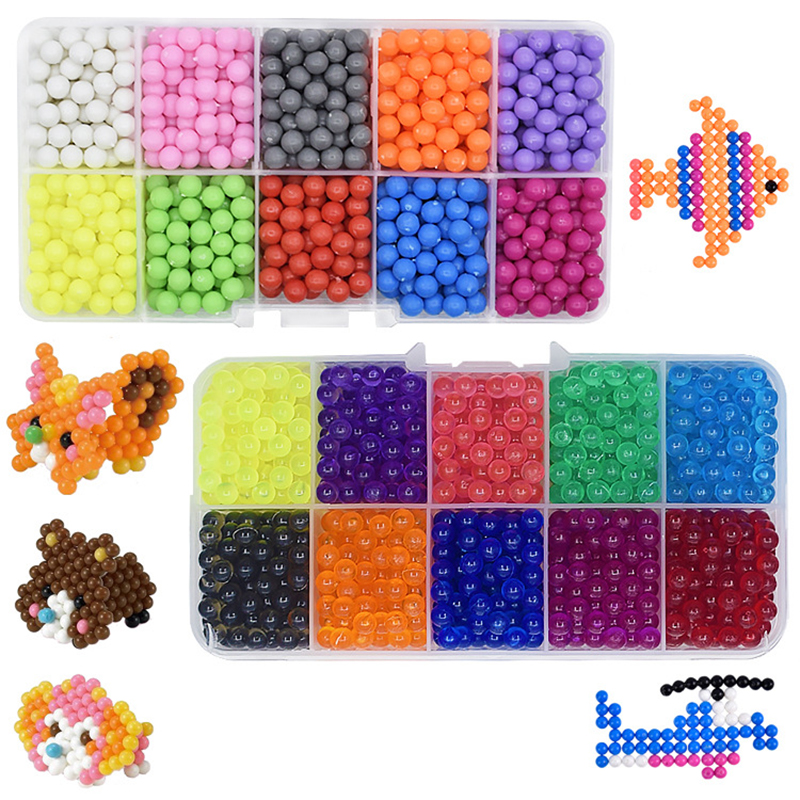 10 Color Crystal Bean DIY Water Spray Magic Beads 3D Puzzle Educational Kit Juguetes Ball Game Toys For Children 1180pcs