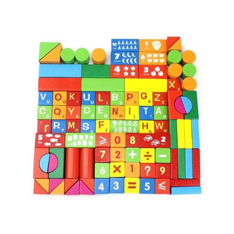 WYNLZQ 100 Pcs/lot jouets en bois numéros bloc jeu éducation cadeaux de noël jouet pour bébé enfants maternelle blocs couleurs - 5