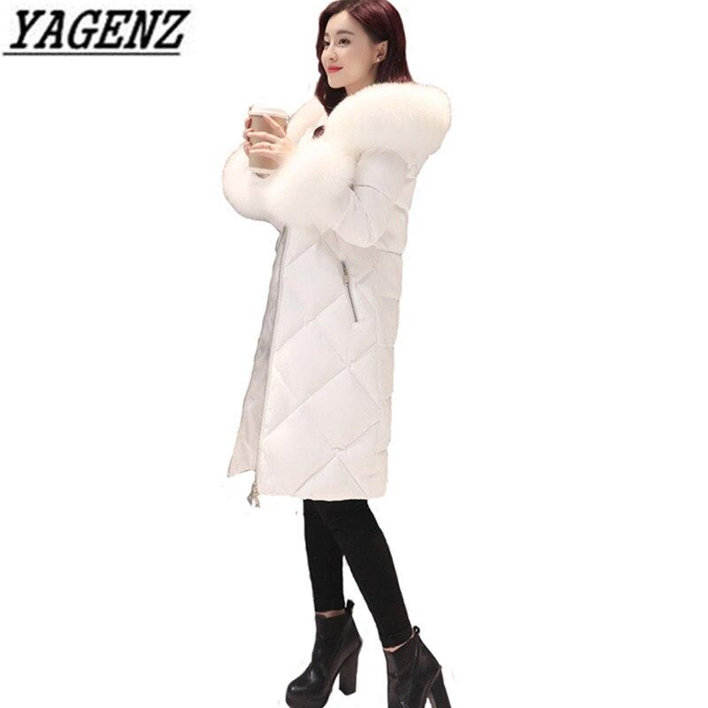 2018 hiver nouveau blanc vers le bas femmes veste manteaux épais fourrure de renard col chaud Long manteaux pour vêtements de dessus haute qualité mince hiver vestes 3XL