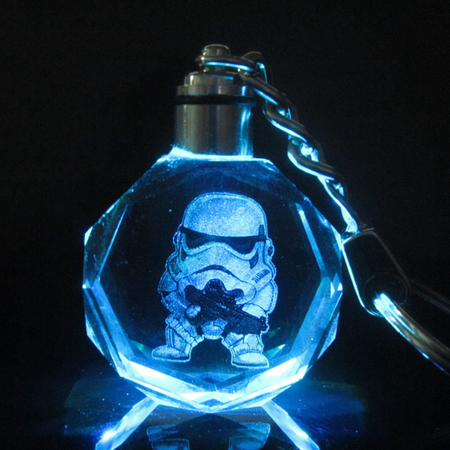 Star Wars Colorful Crystal LED KeyChain Darth Vader – Stormtrooper – BB-8