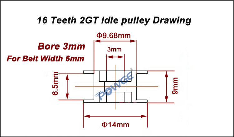 Sans dents,Pack Of 10 GT2 poulie al/ésage 3mm courroie 6mm 16 dents Pour Imprimante 3D