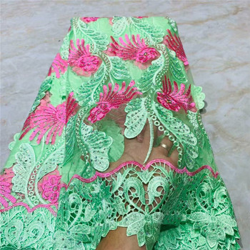 High quality nigerian french lace african lace fabric for party dress.5yards/lot Free shipping with stones 2L83-13