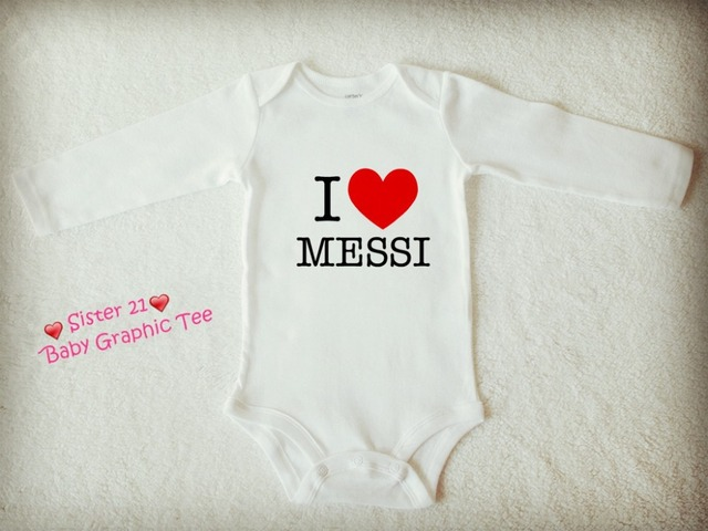 078900255 I LOVE MESSI NEYMAR Infant Organic Cotton One piece Baby Rompers ...