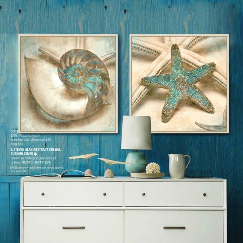 Gray blue ocean canvas wall art posters