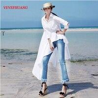 Korean Style Spring Autumn Women Long Blouse Turn Down Collar White Black Irregular Female Tunic Solid Cotton Casual Blouses