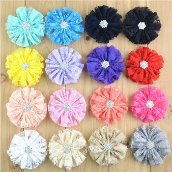 Как красиво 30 шт./лот новые 2,8 дюймов шифоновый кружевной цветок со стразами кнопки плоской задней для детей повязка на голову аксессуары FH60