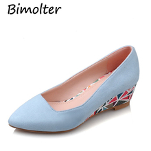 Bimolter New Women PU Pumps Fashion High Quality Basic Geometric Colors Pointy Toe Ballerina Ballet Wedges Slip On Shoes PFSB016 new women calf leather flats fashion high quality basic solid colors toe pointed ballerina ballet flat slip on shoes handmade