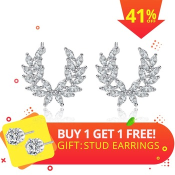LUOTEEMI Fashion Feather Stud Earrings for Women Wedding Party Jewelry Angle Wing CZ Stone Earrings Leaf Brincos Christmas Gifts