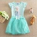 Горячая пользовательские анна Elsa девушки принцесса детская одежда дети платье ткань ну вечеринку Vestidos младенцы платье детская летняя косплей платья