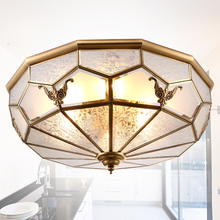 Fashion Europe vintage copper glass ceiling light with 3 pcs e27 bulb lamp for restaurant and bedroom