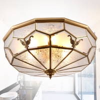 Fashion Europe Vintage Copper Glass Ceiling Light With 3 Pcs E27 Bulb Lamp For Restaurant And