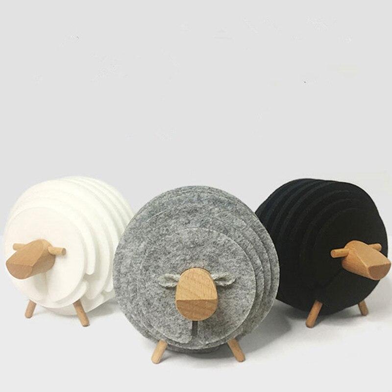 Schafe Form Anti Slip Untersetzer DIY Wärme Isolierte Fühlte Becher Matten Tisch Tischsets Housewarming Geschenke Wohnkultur 14 PCS