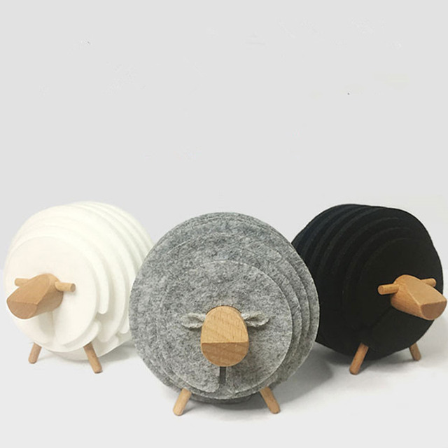 Sheep Shape Drink Coasters Felt Mugs Mats